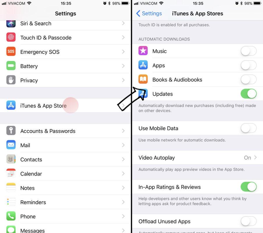 Tắt tự động cập nhật App Store