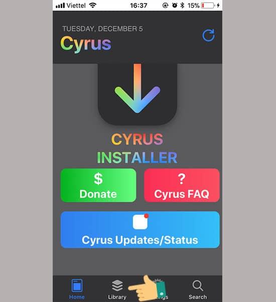 Mở ứng dụng chọn Lybary