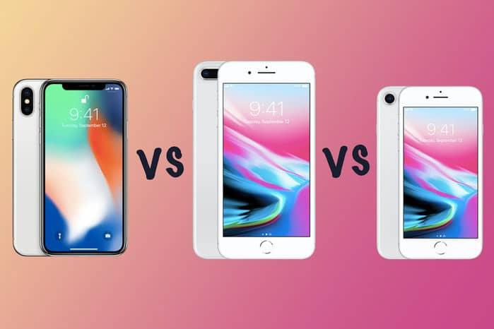 so sánh iphone 8, 8 plus vơi iphone x