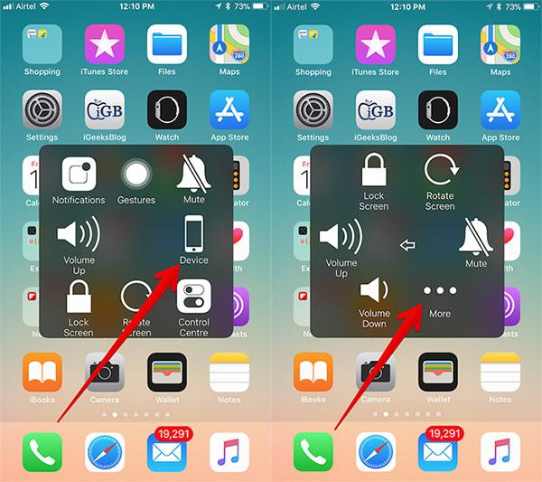 Chọn Device (Thiết bị) và chọn More (Thêm)