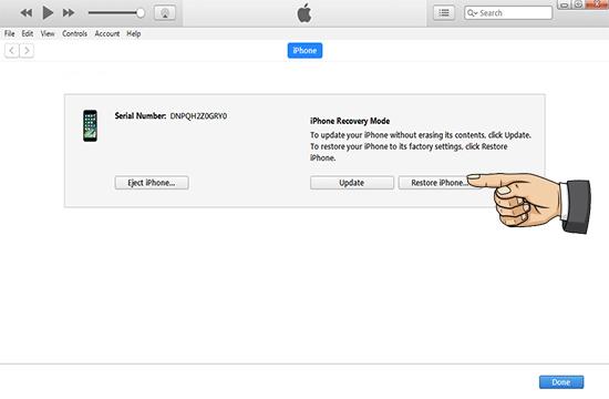Chọn vào mục Restore iPhone