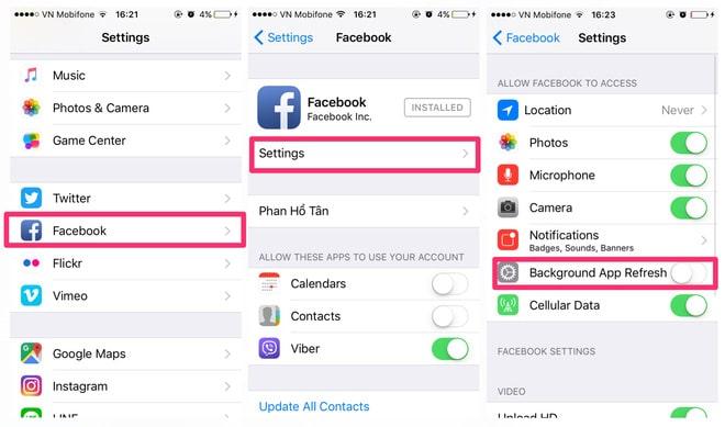 Tắt tính năng chạy ngầm của Facebook