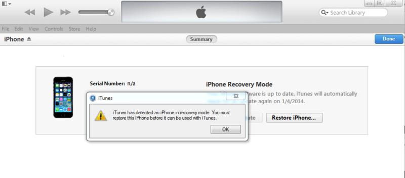 iPhone XS đã vào chế độ khôi phục