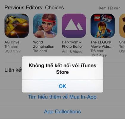 Lỗi không truy cập được AppStore