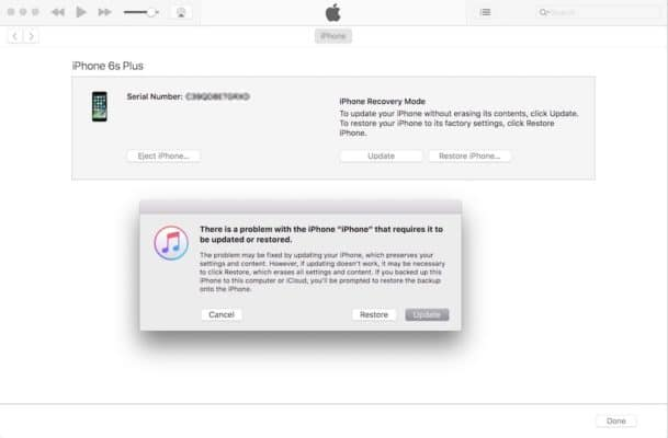 Trên giao diện iTunes chọn Update