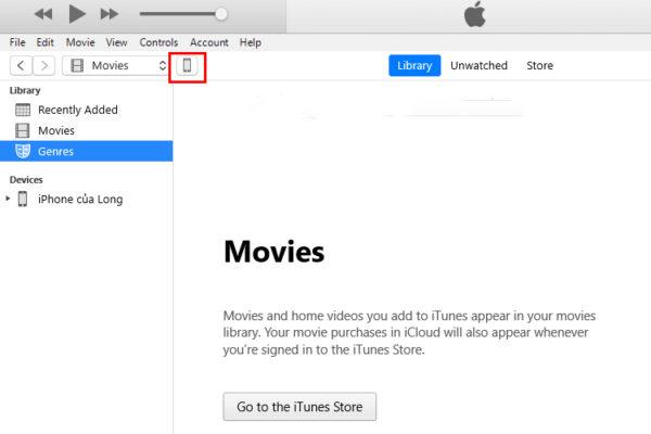 Nhấp chuột vào biểu tượng hình iPhone