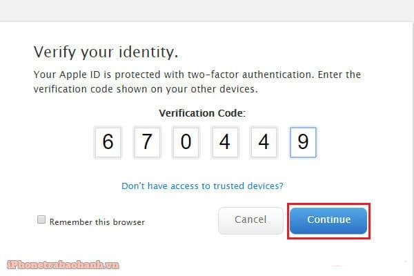 Nhập mã xác minh từ thiết bị của bạn