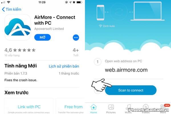 Mở ứng dụng và chọn Scan to connect