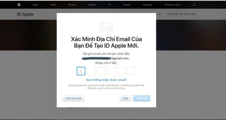 Nhập mã xác nhận từ Gmail để hoàn tất đăng ký
