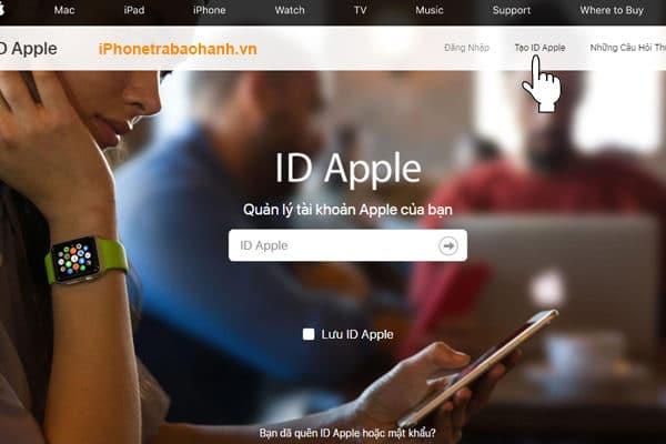 Truy cập trang chủ đăng ký tài khoản ID Apple