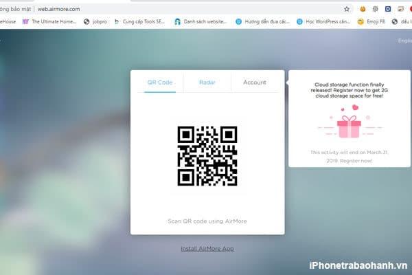 Truy cập web airmore và quết mã QR