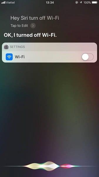 Nói khẩu lệnh Turn off Wifi