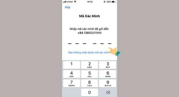 Nhận mã xác minh gửi đến điện thoại của bạn