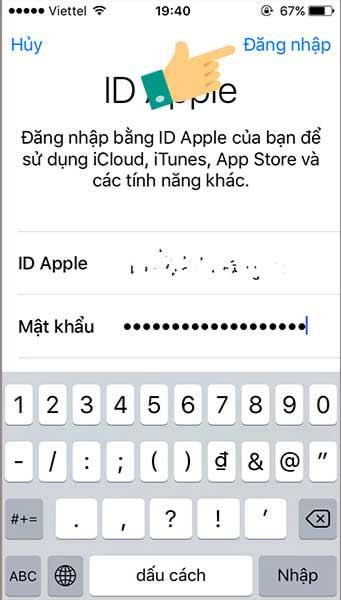 Nhập tài khoản iCloud vào iPhone