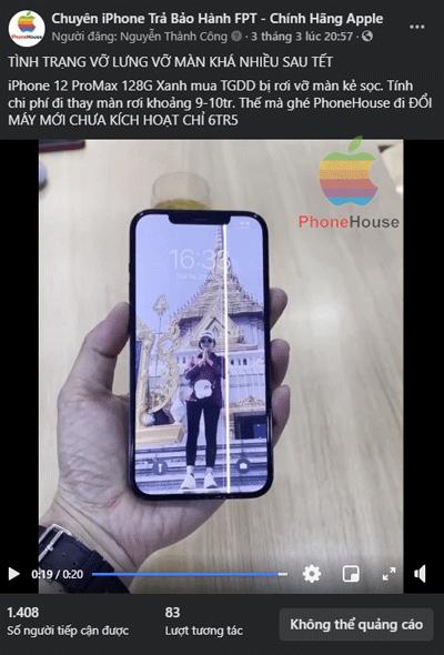 Đổi bảo hành iPhone 12 vỡ lưng, vỡ màn hình