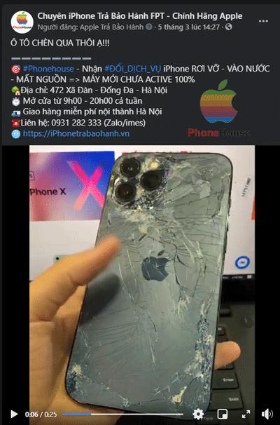 Đổi bảo hành iPhone bị ô tô chèn qua