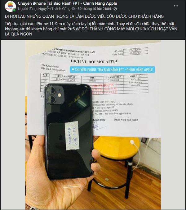 Đổi bảo hành thành công iPhone 11 bị lỗi