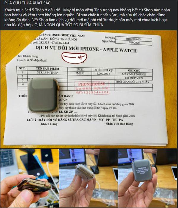 Đổi thành công Apple Watch Sr5 bị lỗi