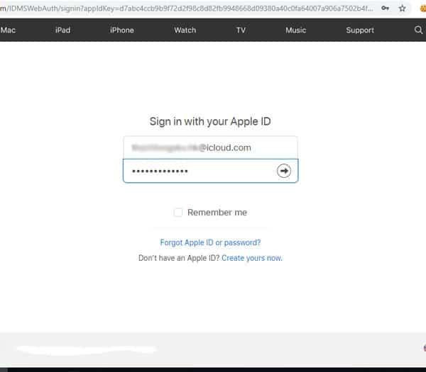 Đăng nhập tài khoản iCloud đang sử dụng