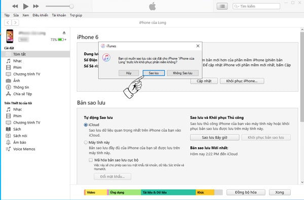Chọn Sao lưu để tạo bản sao lưu iPhone trên iTunes