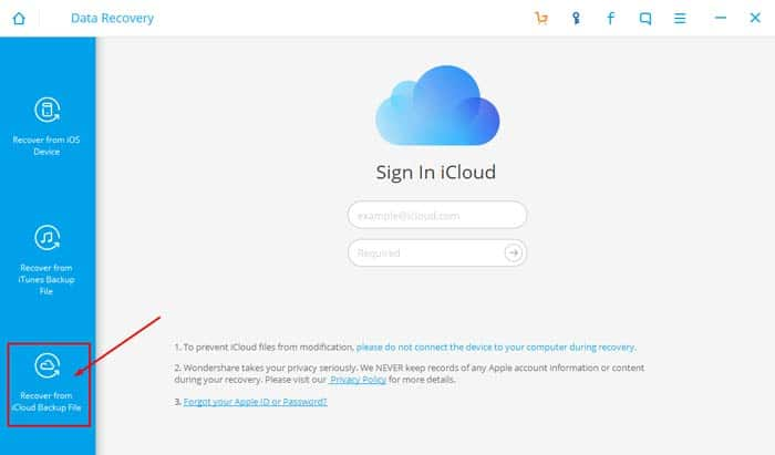Chọn mục Recover from iCloud Backup File