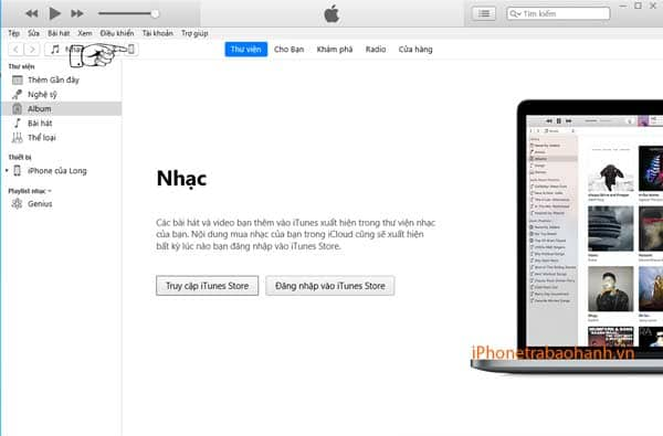 Click chọn biểu tượng iPhone