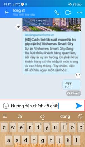 Gõ một đoạn tin nhắn bất kì