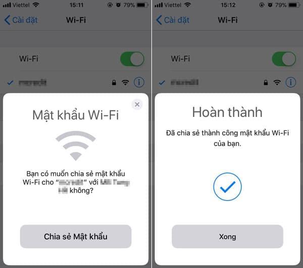 Thông báo chia sẻ mật khẩu Wifi