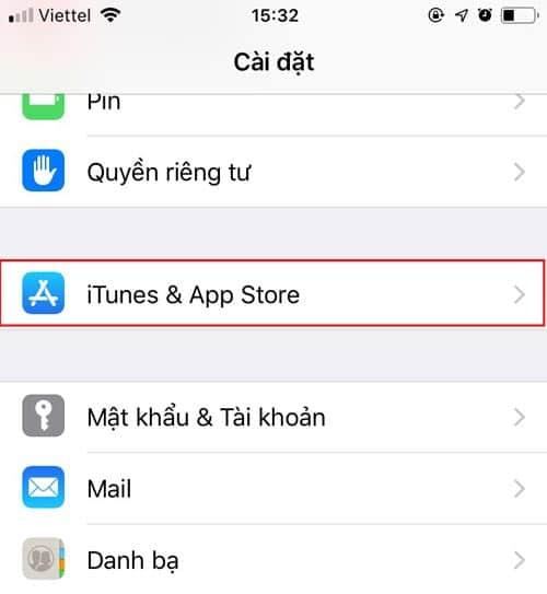 Vào iTunes & Appstore
