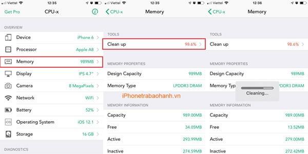 Xóa bộ nhớ Ram trên iPhone 6