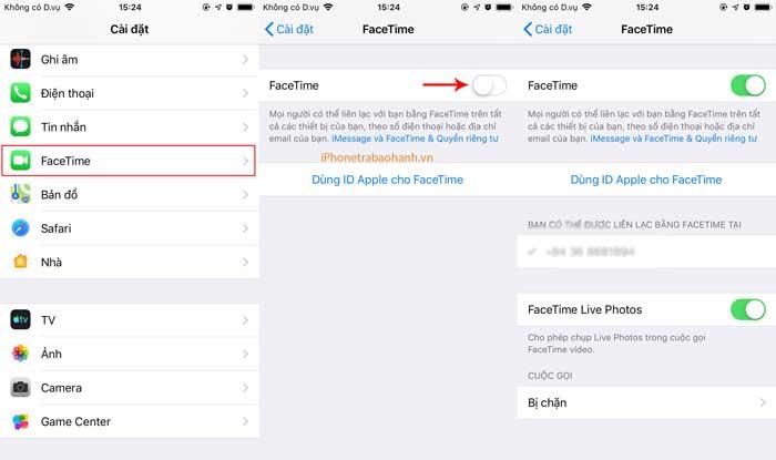 Bật tính năng Facetime trên iPhone