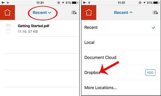 Chạm vào mục Recent tiếp đến Dropbox