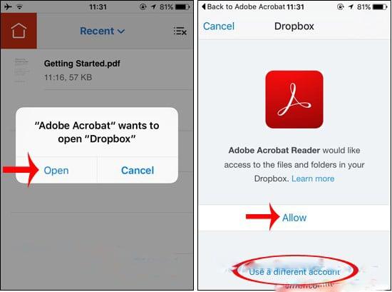 Chọn đăng nhập luôn hoặc dùng tài khoản Dropbox khác