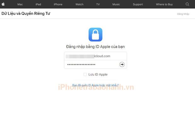 Đăng nhập tài khoản ID Apple