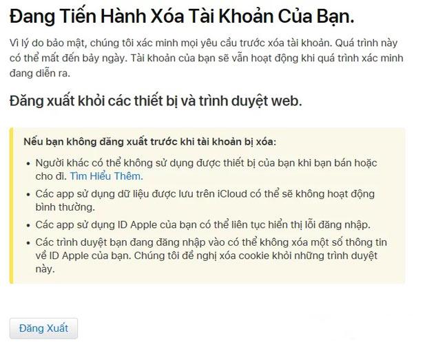Apple sẽ xác nhận là họ đang làm việc để xóa tài khoản