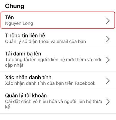 Chọn Tên để thay đổi tên Facebook