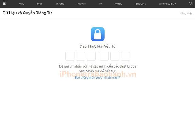 Nhập mã xác minh ID Apple, mã được gửi về iPhone