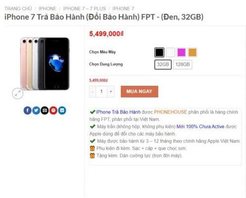 Giá iPhone 7 Trả bảo hành tại Shop iPhonetrabaohanh