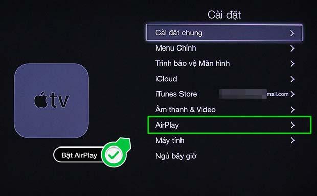 Bật AirPlay của Apple TV lên