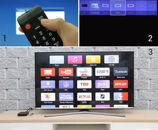 Chọn đầu vào của tivi là HDMI và Apple TV sẽ kết nối thành công