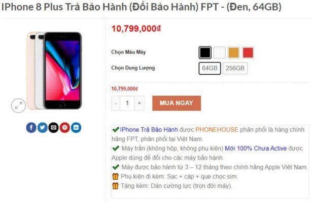 Giá iPhone 8 Plus trả bảo hành