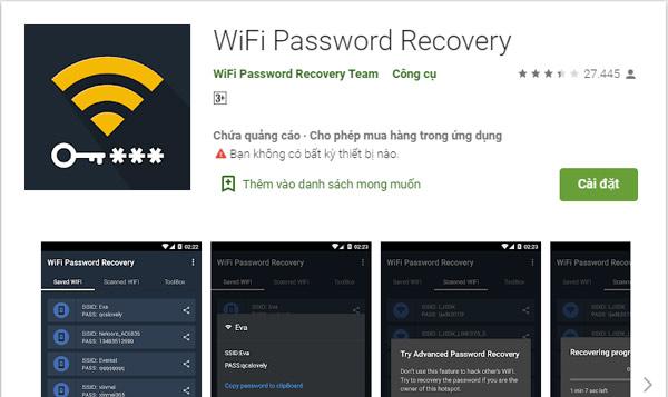 Bạn tải ứng dụng Wifi Password Recovery