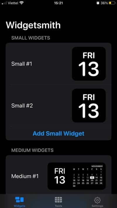 Có 3 kích cỡ Widget tùy chọn
