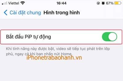 Gạt nút bật Bắt đầu PiP tự động