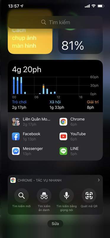 Màn hình tiện ích trên iPhone