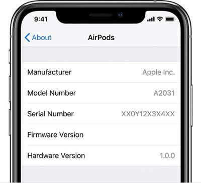 Số serial của AirPods được hiển thị trên iPhone