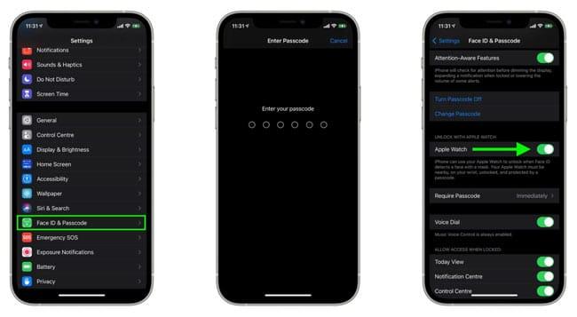 Thiết lập mở khóa iPhone bằng Apple Watch