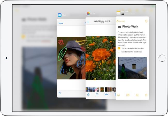 Chia màn hình iPad bằng Slide Over