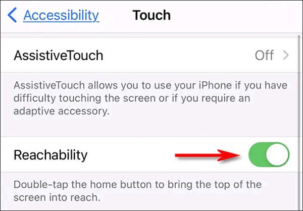Nhấn vào công tắc bên cạnh tùy chọn Reachability
