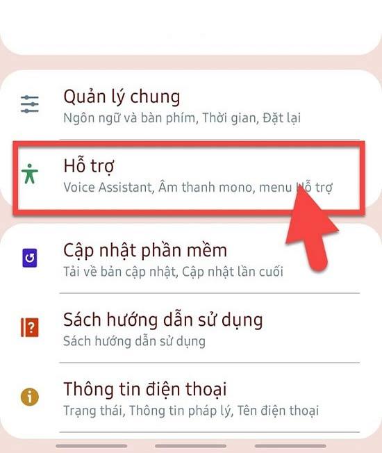 Vào phần Cài đặt trên điện thoại Android và tìm đến phần Hỗ trợ